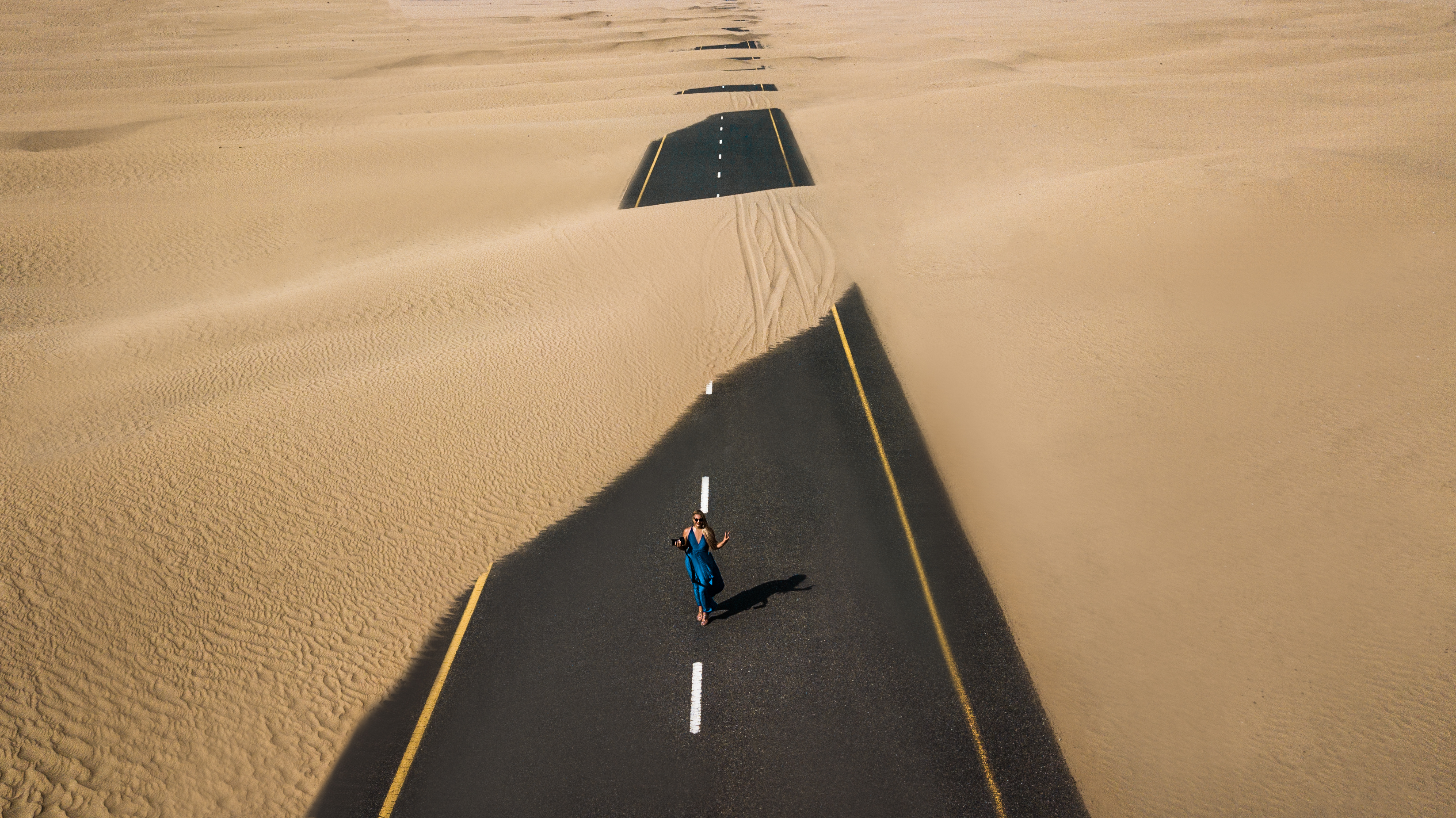 Birds Eye View Photography of Road in the Middle of Desert